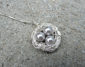 Silver Birds Nest Necklace & Chain - Argentium Sterling Silver Pendant