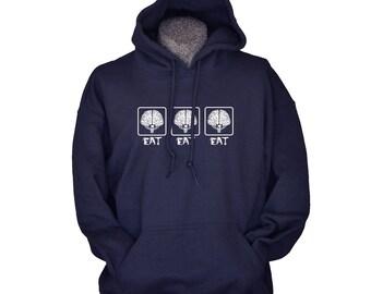 Geek Hoodies for men women teens Zombie Eat Brains sweater warm sweatshirt hoodies funny zombies geekery extra large sizes