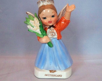 Additional 10% Off...SALE  Vintage Switzerland Country Angel with Flowers BEAUTIFUL Mint