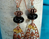 Smoky Quartz,  Amber Crystals, Kyanite, Copper and Hand Painted Filigree Dangles, One of a Kind