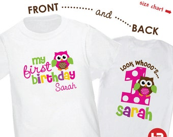 Girl Owl 1st Birthday Shirt or Bodysuit - Personalized Owl First Birthday Shirt - Monogram 1st Birthday Outfit