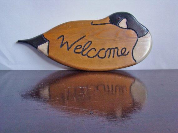 vintage Canadian Goose wooden welcome sign