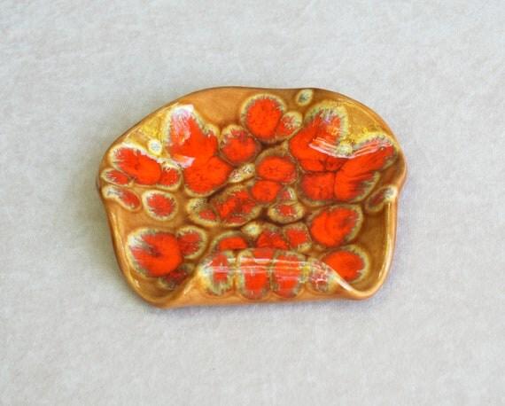 Vintage pottery, ceramic decor, Business card holder, ash tray, red, orange, mustard, molten lava glaze, psychedelic, 1970's.