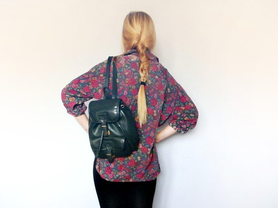 Vintage Vegan Backpack 90s Grunge Bohemian Chic Forest Green Glossy Faux Leather Rucksack Handbag