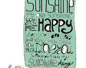 You are my sunshine - 8 x 10in. illustration print