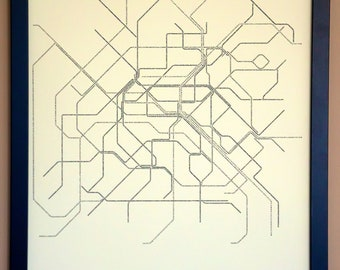 Paris Typographic Transit Map Poster