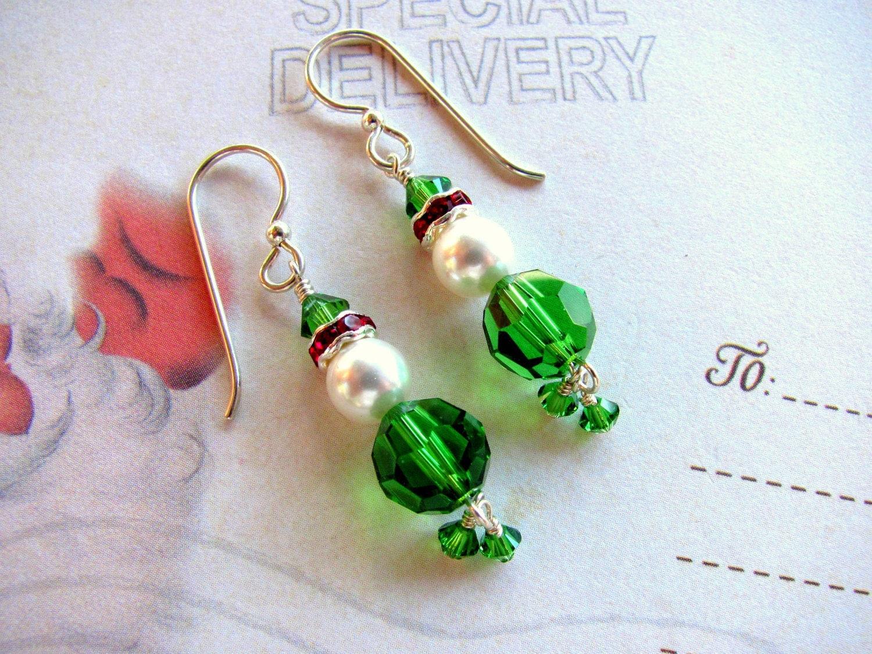 Christmas Elf Earrings Holiday Earrings Swarovski Earrings