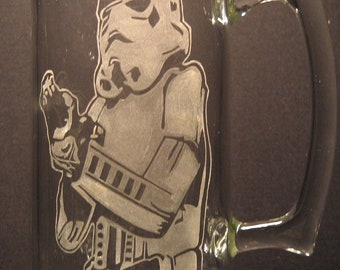 Star Wars glasses Storm Trooper inspired Beer Mug Engraved/Etched Glass