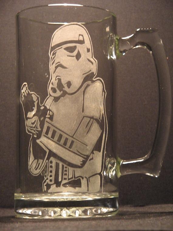Star Wars glasses Storm Trooper inspired Beer Mug Engraved/Etched Glass