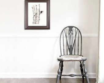 11x14 / Birch Tree Love / Love Birds / Romance / watercolor print / grey / black and white /