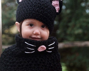 Black Cat Hat and Cowl Set- Black Cat Costume- Kids Halloween Costume- Baby Cat hat and cowl set- Crochet Cat Hat- Crochet Cat Costume