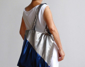 Blue Lightning Tote : Metallic Blue and Silver Tote Bag