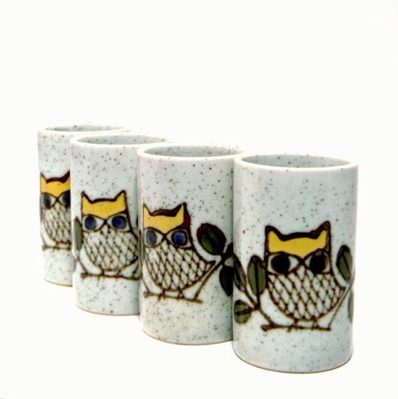 Otagiri Owl Teacups, Vintage 1960s Japanese Stoneware Set