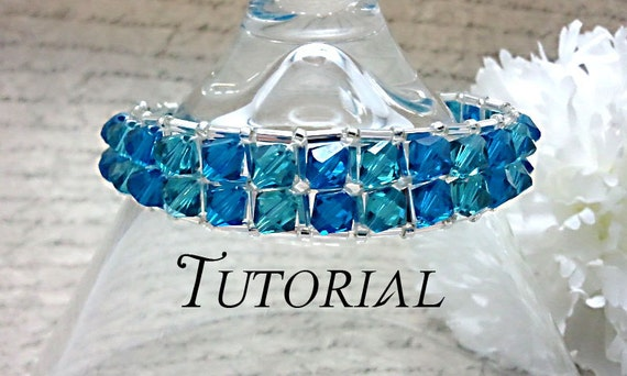 Tutorial PDF Right Angle Weave Swarovski Crystal Embellished Bracelet, Instant Download