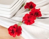 Red Flower Napkin Rings Spring Table Settings, Summer Weddings and Party Entertaining Home Decor with Handmade Green Wire. Set of 4