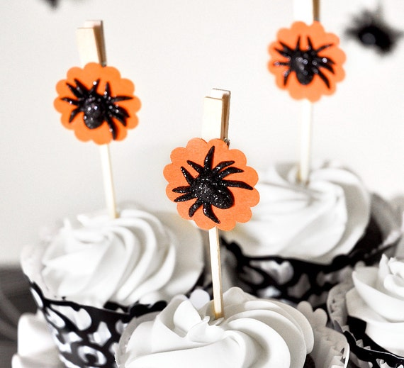 Halloween Candy Glitter Black Spider Glitter Cupcake Toppers or Orange Gift Favor Bag Clips or Party Decoration - Set of 12 - Wish Clips