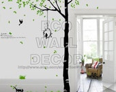 PEEL and STICK Removable Vinyl Wall Sticker Mural Decal Art - Giant Trees and Birds II (2 Sheets)