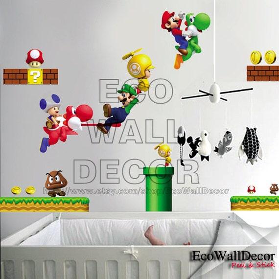 PEEL and STICK Kids Nursery Removable Vinyl Wall Sticker Mural Decal Art - Nintendo New Super Mario Wii