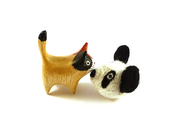 Panda Bear Catnip Cat Toy - Needle Felted Wool
