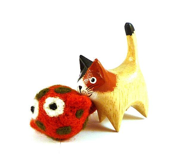 Wool Catnip Cat Toy Fish Pumpkin Orange and Olive Green