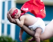 Newborn Superhero MASK and CAPE set - Reversible Halloween Costume or Photography Prop for Infant and Baby