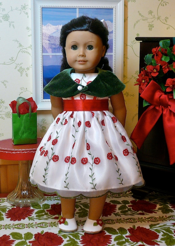 American girl 18 inch doll clothes christmas dress in white red