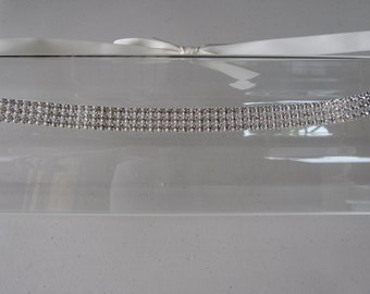 Triple Crystal Halo Headband with Ivory Satin Ribbon Tie, for weddings, Bridal, parties, special occasions