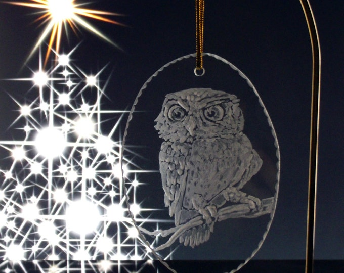 Holiday owl ornament , engraved glass Christmas ornament , handmade holiday decoration no cost US shipping