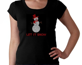 Snowman RHINESTONE t-shirt tank top sweatshirt S M L XL 2XL - Bling Let it Snow Winter Holiday Ski Skiing