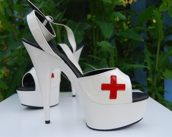 Vintage Nurse Platform Stilettos - Costume fetish Dress Up - Platform Stilettos - Stripper Shoes UK Size 6 US 8 EUr 39