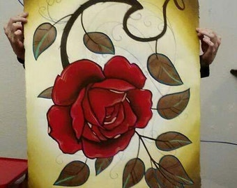 tattoo red rose watercolor painting, oversize painting, traditional tattoo art