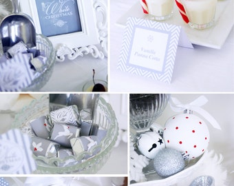 CHRISTMAS Printable Set - White Christmas - Includes Cupcake Toppers, Bunting, Candy Wrappers, Gift Tags and more