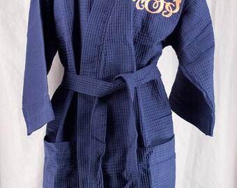 Bridesmaid Robe, Monogrammed Robe, Personalized Spa Robe - Waffle Weave Kimono Robe, Navy Thigh Length Monogrammed Robe - Bridal Party Robes