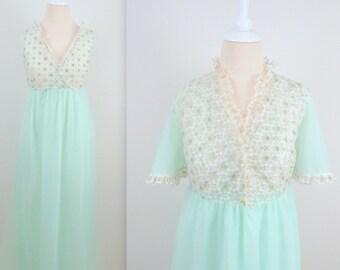 Mint Gossamer Peignoir Set - Vintage 1950s Chiffon Nightgown and Robe - Small