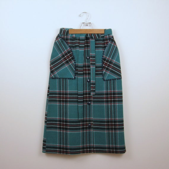 vintage 1970s plaid midi skirt aline in teal blue by twomoxie. Black Bedroom Furniture Sets. Home Design Ideas
