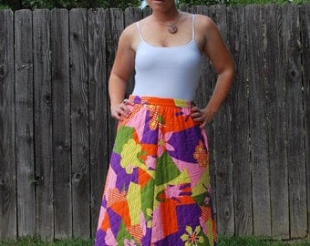 Quirky Quilted Queen 1970s Vintage Mr. B Of California Quilted Colorful Avante Gaurde Hippie Print Long Maxi Skirt