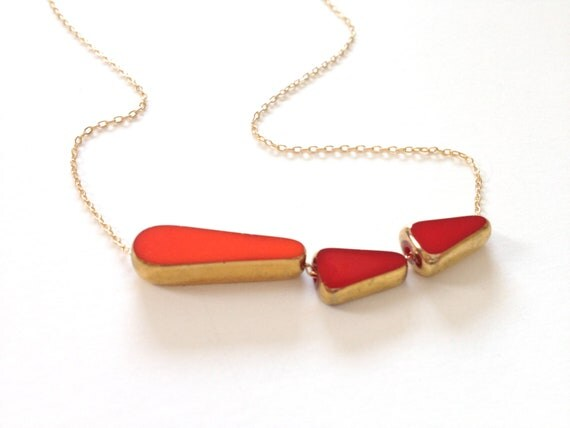 Red Arrow Necklace // 24k gold mid century jewelry by LilahV