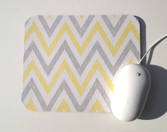 Chevron Mouse Pad / Yellow, Gray, and White / Holiday Gift / Home Office Decor / Simpatico Collection / Cloud 9 Organic