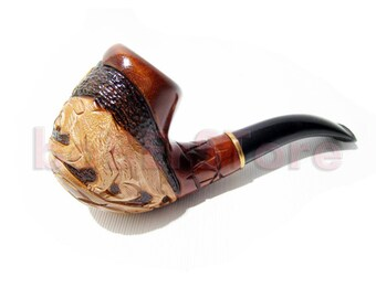 """Pipe - Handcrafted """"PANTHER"""", Tobacco pipe, Wooden Pipes/Pipe Author Exclusive Tobacco Smoking Pipe. Handcrafted wood & Pouch Gift"""