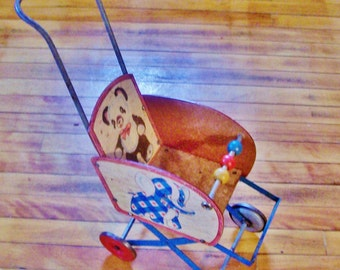 Jingle Stroller 1953 by Gong Manufacturing, wooden doll stroller, Vintage toy stroller, Gift for girls......