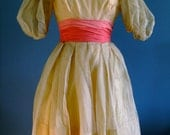 Vintage Party Dress with Hot Pink Chiffon Waist Detail