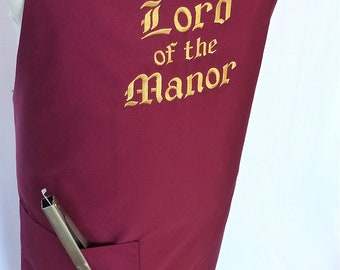 Lord of the Manor Mens Apron Embroidered with pocket - Burgundy