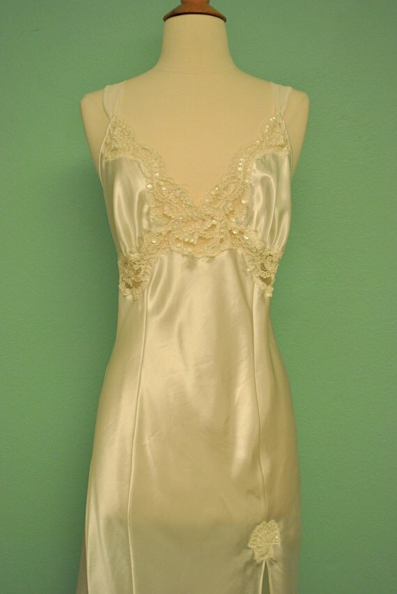Vintage Full Length Night Gown Lingerie House Dress with Sequin Appliques in White Satin