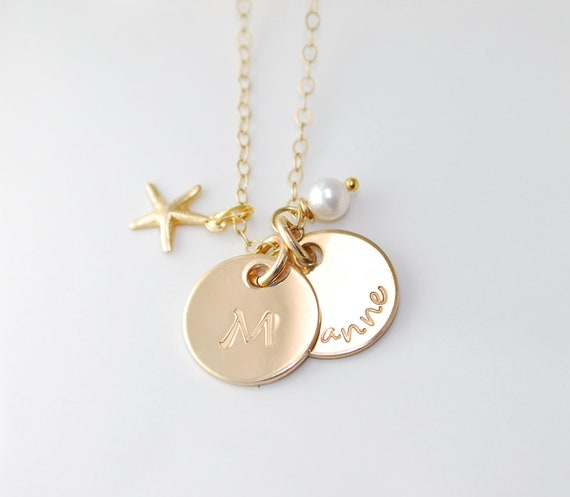 Mothers necklace - Bridesmaids gift - two gold circle initial or name charms  - Starfish & Pearl - Dainty Personalized hand stamped 14k fill