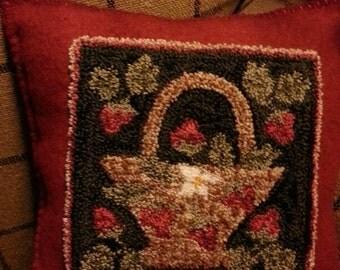 Primitive Punchneedle Pattern Strawberry Basket Pillow