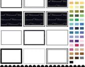 frame clip art digital clipart 5 x 7, rectangle clip art frame photo clipart dot line rectangle frame : e0155 & v301 black