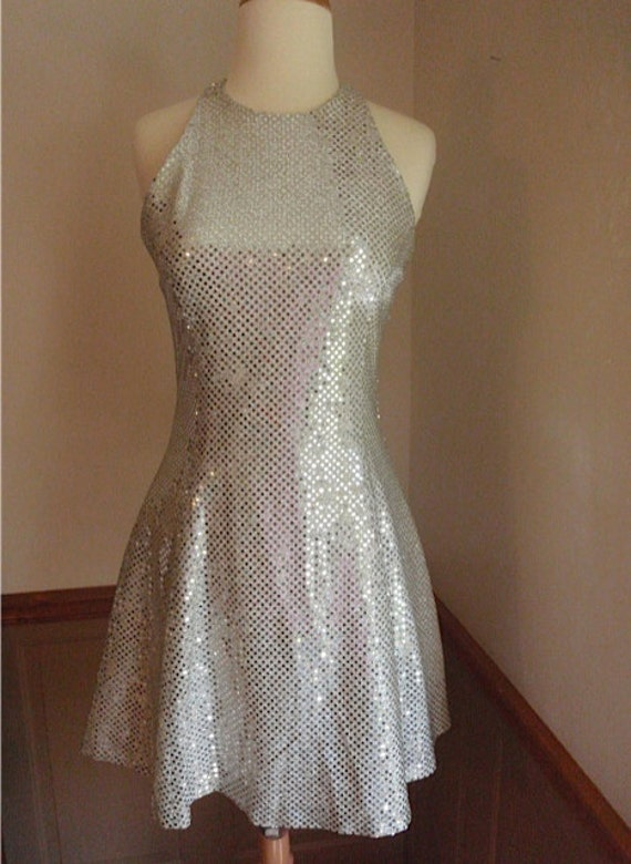 Jessica McClintock Silver Glitter Mini Dress Vintage