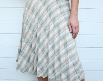 Vintage High Waist Plaid Pleated Skirt