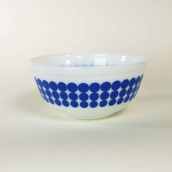 Vintage Pyrex Blue Polka Dot Mixing Bowl By