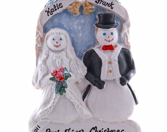 Personalized Christmas Ornament - Snowman Bride and Groom - Remember that special first Christmas as Mr and Mrs - Couples Ornament (37)